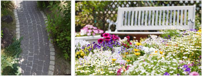 石畳と花壇のエクステリア
